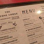Stone Lodge Menu