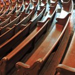 Original wooden pews from Ryman's days as a gospel tabernacle. (Wes Albers)