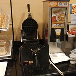 Waffle area of complimentary breakfast