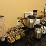 Cereals and pastry area of complimentary breakfast
