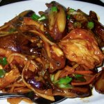 Spicy eggplant with deep-fried bean curd
