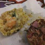 The inside of the shrimp, cassava & the pork, kale & sausage