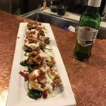 These appetizers are wonderful, fried Oysters with blue cheese and bacon, can't go wrong with th