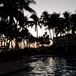 Relaxing near the pool watching the sun set.