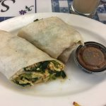 spinach, egg and garlic burrito
