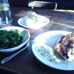 Pork chop, kale, sourdough