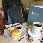 Great scone, local jam n cream. Great coffee