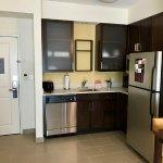 Kitchen; microwave and refrigerator were clean