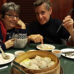 My delightful extended family with the dumplings