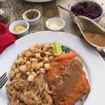 Wienerschnitzel w/ mushroom gravy, German sausages & fried potatoes