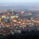 View from the top of Petrin Tower - The Palace and St. Vitus Cathedra