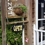 Lazy Susan Cafe's front door and sign