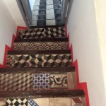Interesting tiles on stairs up to rooftop terrace