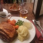 The best slow roast pork belly ever, washed down with a cup of tea.