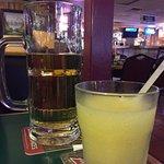 Large Draft beer and margarita