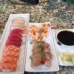 Himachi, Maguro, Sake, Upside Down Shrimp, Seared Albacore. YUM!