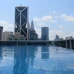 Rooftop pool with Petronas towers in background