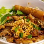 vermicelli with grilled pork and spring roll...