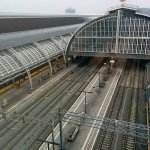 view of Centraal Station from the 8th floor corridor