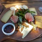 Cheese Platter - roquefort, compte and another delicious cheese, fanned apple, two types of crac