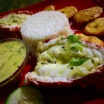 Caribbean lobster with coconut sauce.
