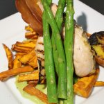 Chicken with proscuitto, grilled peach, sweet potato fries & truffled pea puree