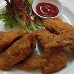 Deep fried chicken wings.