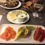 Trio de saumon et palourdes farcies