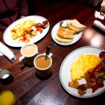 Breakfast: coffee, omelettes and bread