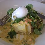 Hastings salmon in a spud & a poached egg on top.