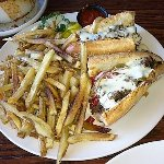 Philadelphia Cheesesteak Sandwich and French Fries