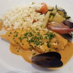 le poisson du jour+ légumes et riz