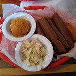 Black bean tamales, Sweet potato mash, and tangy slaw