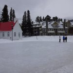 Ice skating, next to church and hotel