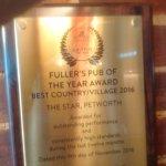 Fullers 2016 Award for Best Village Pub!