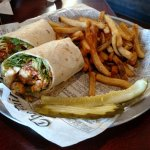 Buffalo chicken wrap and fries
