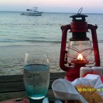 Enjoying the sunset while dining at 'Stew Fish'