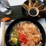 Chilli chicken ramen with rice noodles, yasai gyoza.