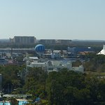 View of Disneysprings, balloon, and Circ de Soleil tent from my 16th floor room.