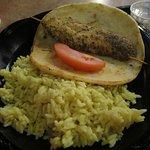 Chicken Souvlaki Plate served with lemon rice and side salad