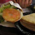 Veggie Pita Sandwich (left)