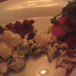 Bunless blackened fish sandwich with warm potato salad