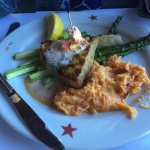 Grilled Swordfish with Lobster Mashed Potatoes & Asparagus