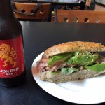 BLTA sandwich and Lion Red beer