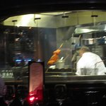 Open kitchen (salmon cooking)