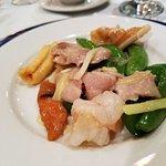 Goeduck, prawns, chicken, bamboo shoots and Snow Pea stir-fry.