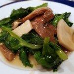 Beef, mushroom, greens and ginger stir-fry.