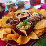 Combo Dips, Guacamole, Ranchero sauce, Queso Fundido & Frijole Beans