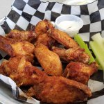 Old Bay Wings with delicious homemade blue cheese