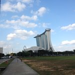 Walking towards the Marina Bay Sands from MRT station